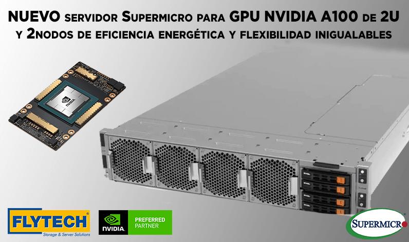 El servidor Supermicro para GPU NVIDIA A100 de 2U y 2 nodos ofrece una eficiencia energética y flexibilidad inigualables
